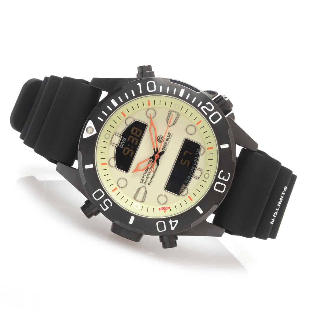 628-113 - Deep Blue 46mm Depthmeter Ana/Digi Quartz Stainless Steel Silicone Strap Watch