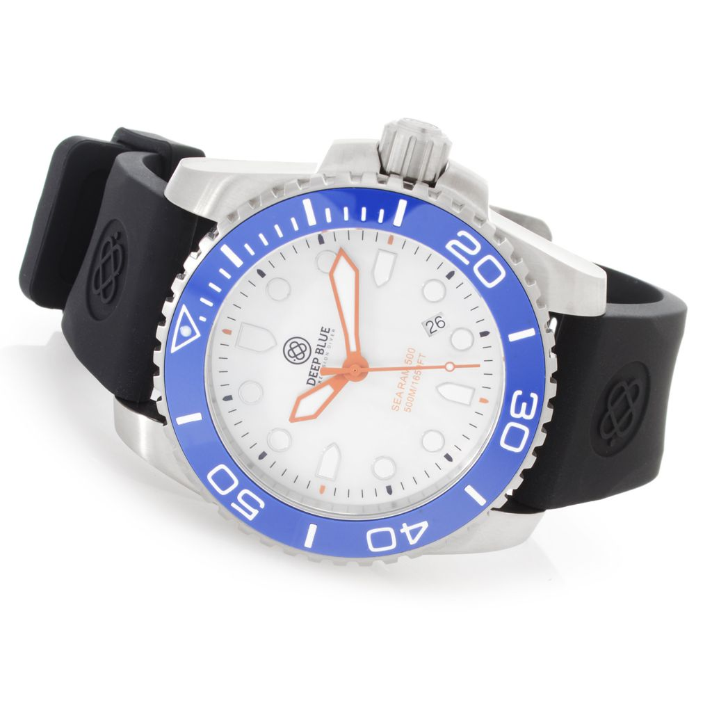 628-116 - Deep Blue 45mm Sea 500M Swiss Quartz Mother-of-Pearl Silicone Strap Watch