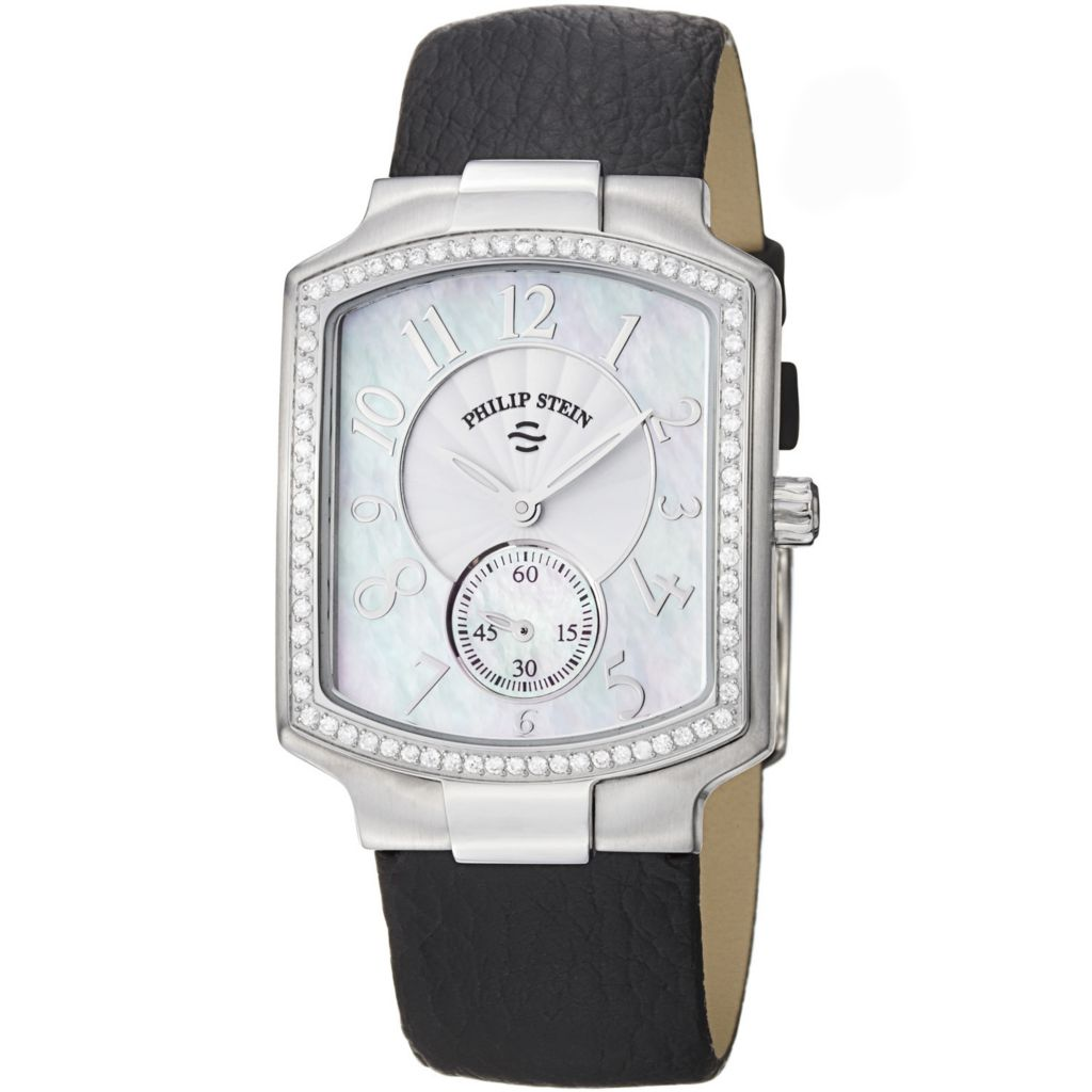 628-147 - Philip Stein 27mm Signature Quartz Mother-of-Pearl Leather Strap Watch