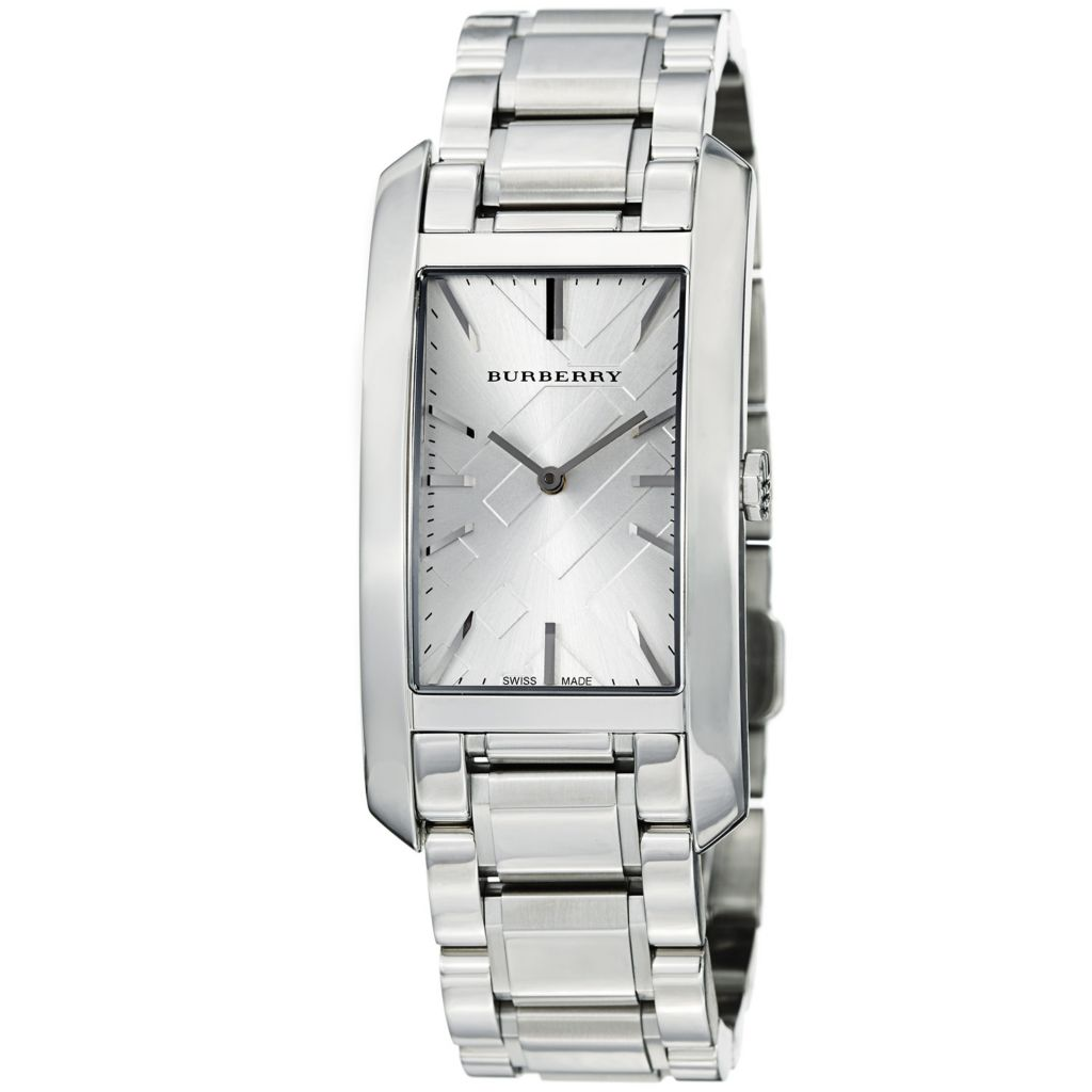 628-163 - Burberry Rectangular Heritage Swiss Made Quartz Stainless Steel Bracelet Watch