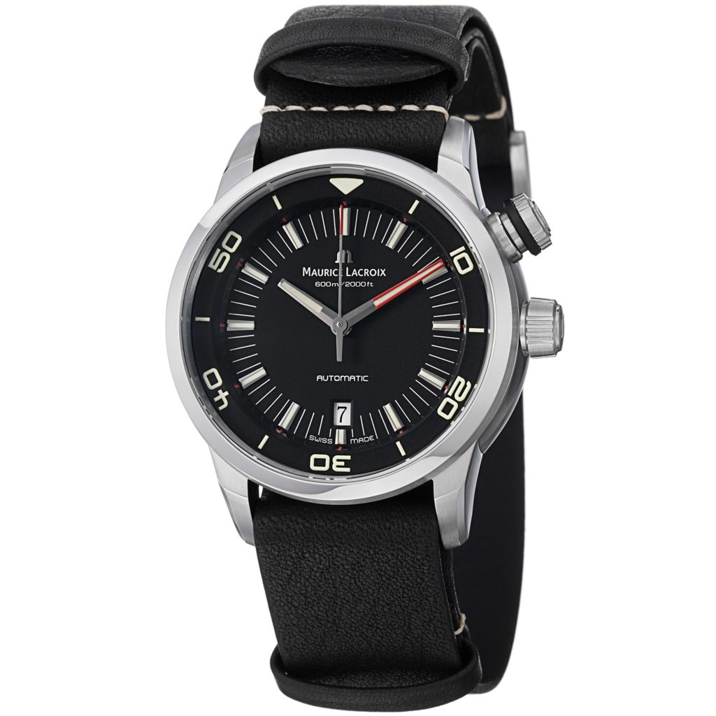 628-167 - Maurice Lacroix 43mm Pontos Diver Swiss Made Automatic Date Leather Strap Watch
