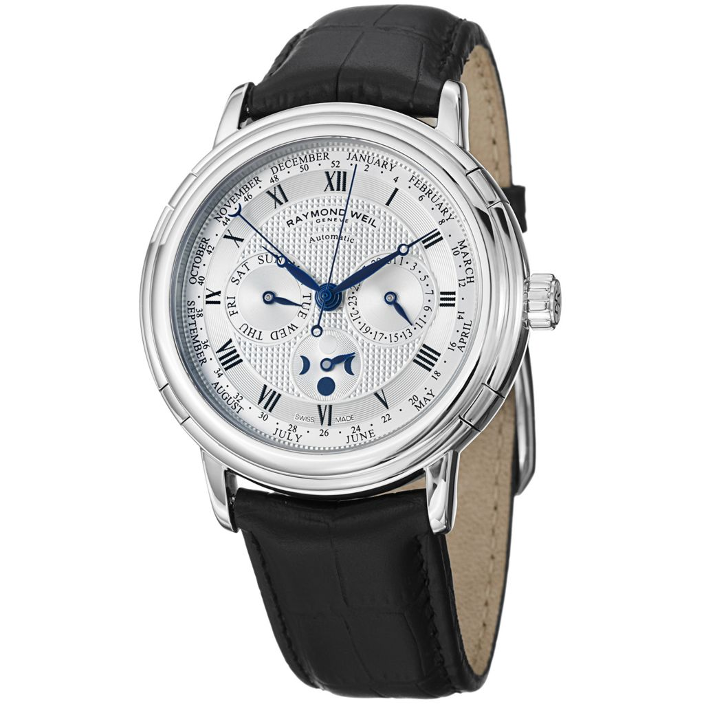 628-169 - Raymond Weil 41mm Maestro Swiss Made Automatic Multi Function Leather Strap Watch