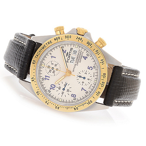 628-170 - FORTIS 38mm Cosmonauts Swiss Valjoux 7750 Automatic Leather Strap Watch