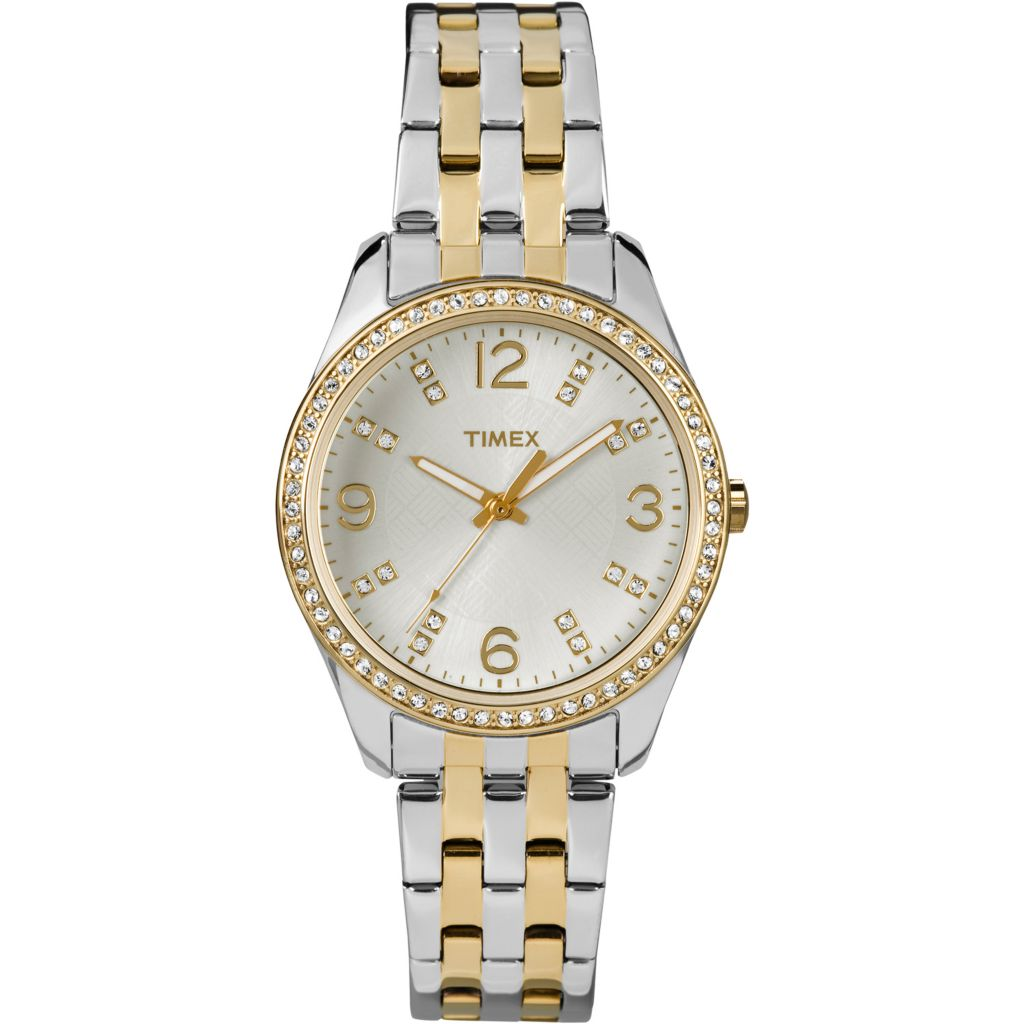 628-177 - Timex Women's Crystal Quartz Stainless Steel Bracelet Watch