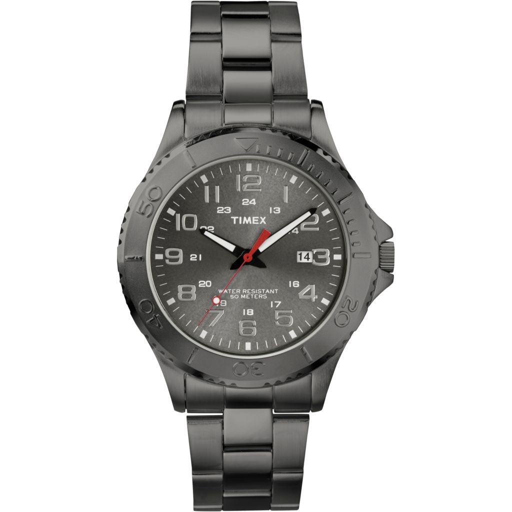 628-178 - Timex 42mm Elevated Classic Quartz Date Stainless Steel Bracelet Watch