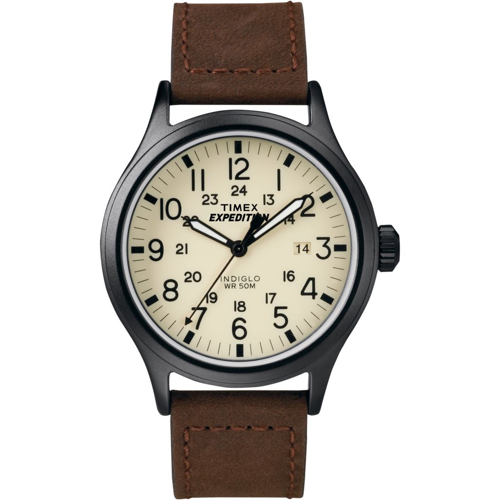 628-181 - Timex 40mm Expedition Scout Quartz Date Leather Strap Watch