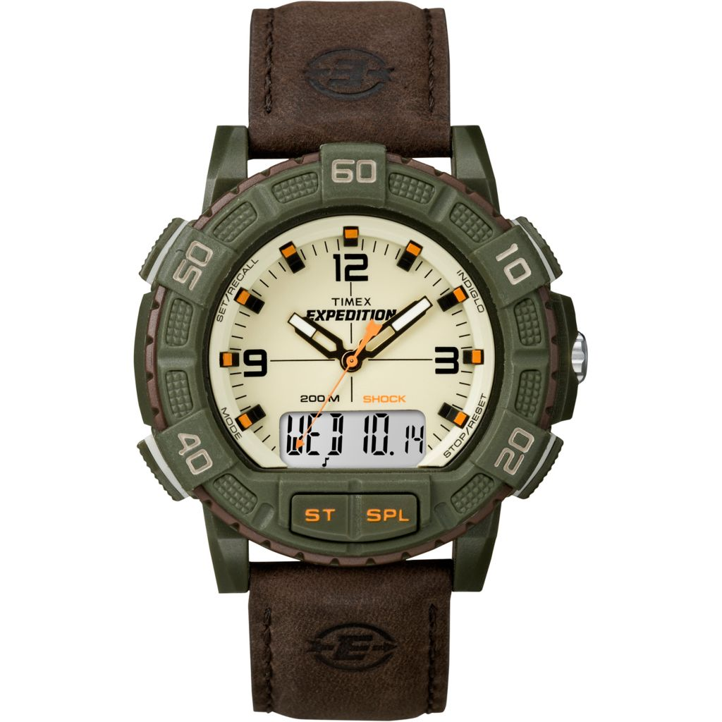 628-183 - Timex 45mm Expedition Double Shock Analog-Digital Leather Strap Watch