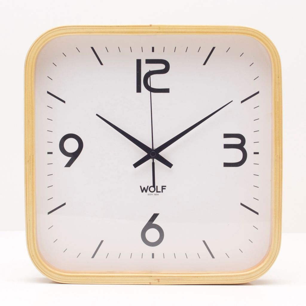 "628-192 - WOLF 12"" Moderne Square Wooden Wall Clock"
