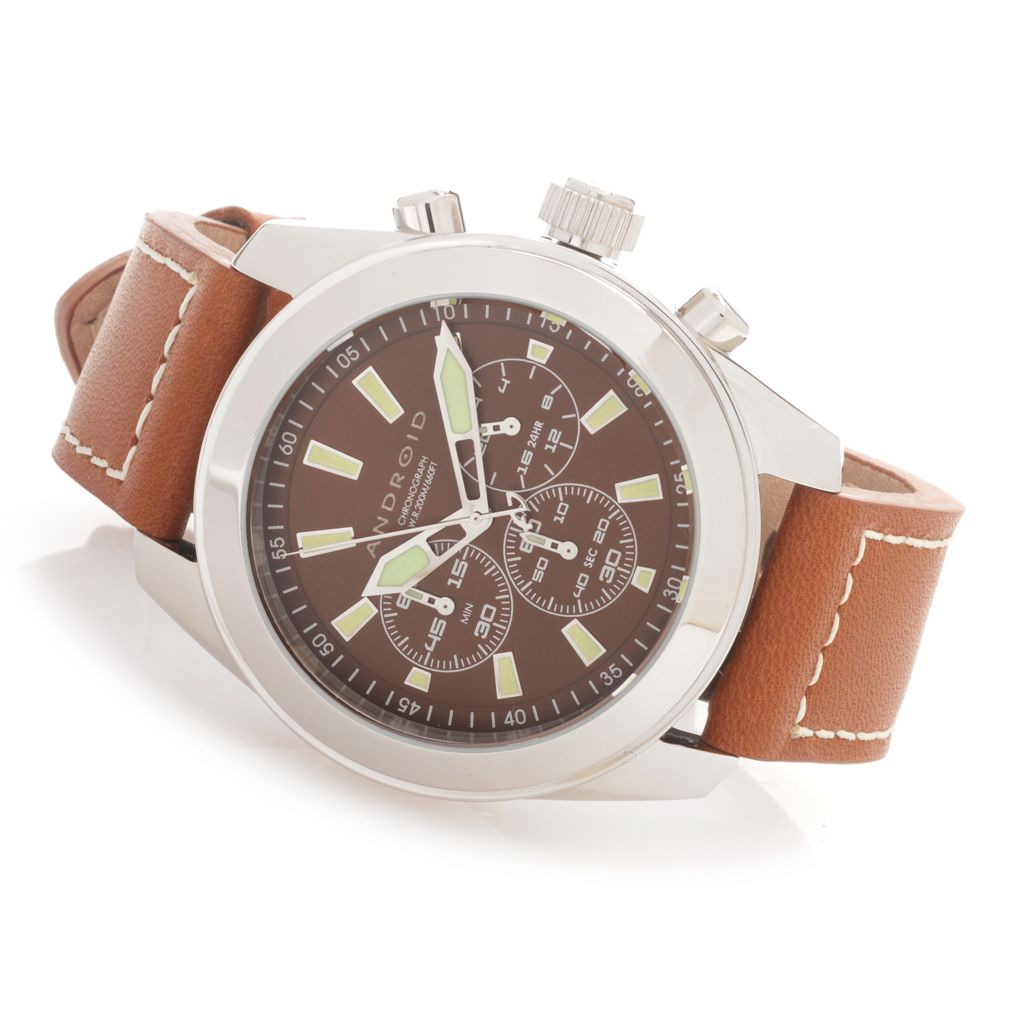 628-199 - Android 44mm Skyguardian Quartz Chronograph Leather Strap Watch w/ 3-Slot Travel Case