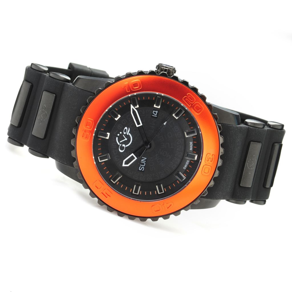 628-213 - GV2 by Gevril 47mm Aurora Limited Edition Swiss Made Quartz Rubber Strap Watch