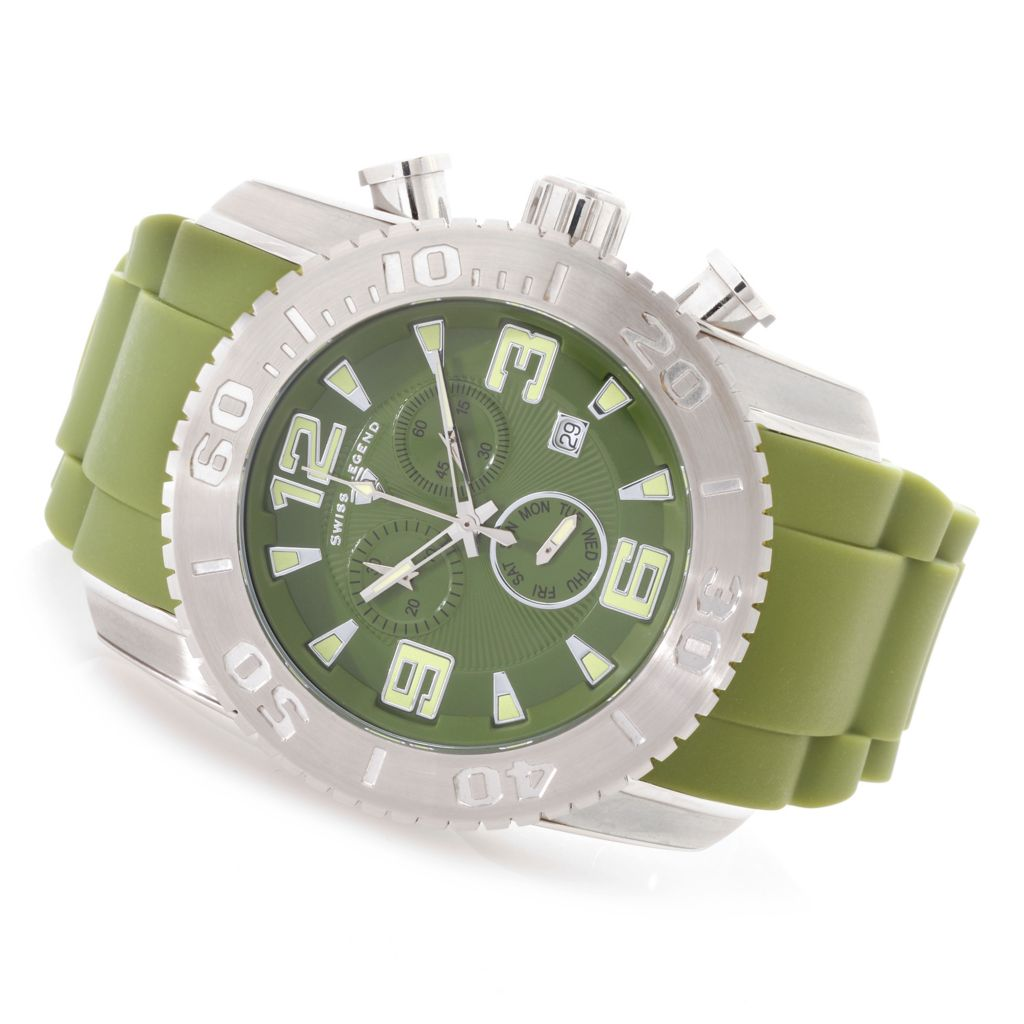 628-214 - Swiss Legend 47mm Commander Swiss Quartz Chronograph Stainless Steel Silicone Strap Watch