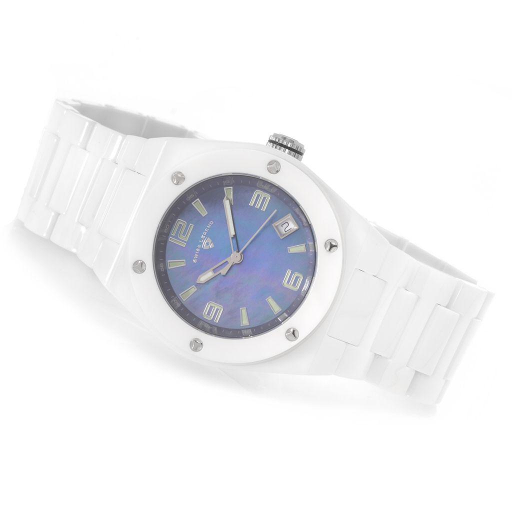 628-215 - Swiss Legend 40mm Throttle Swiss Quartz Ceramic Bracelet Watch