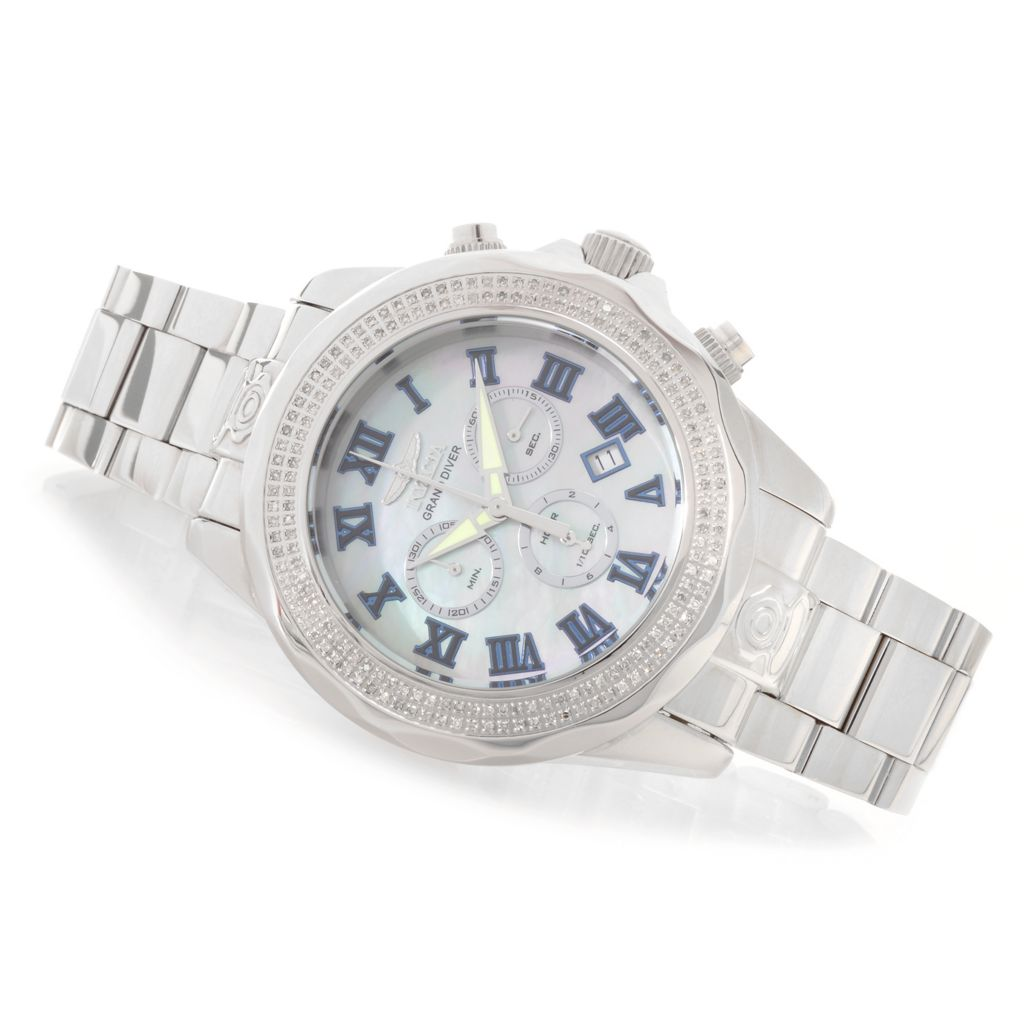628-236 - Invicta 47mm Grand Diver Swiss Quartz Chronograph 0.82ctw Diamond Stainless Steel Bracelet Watch