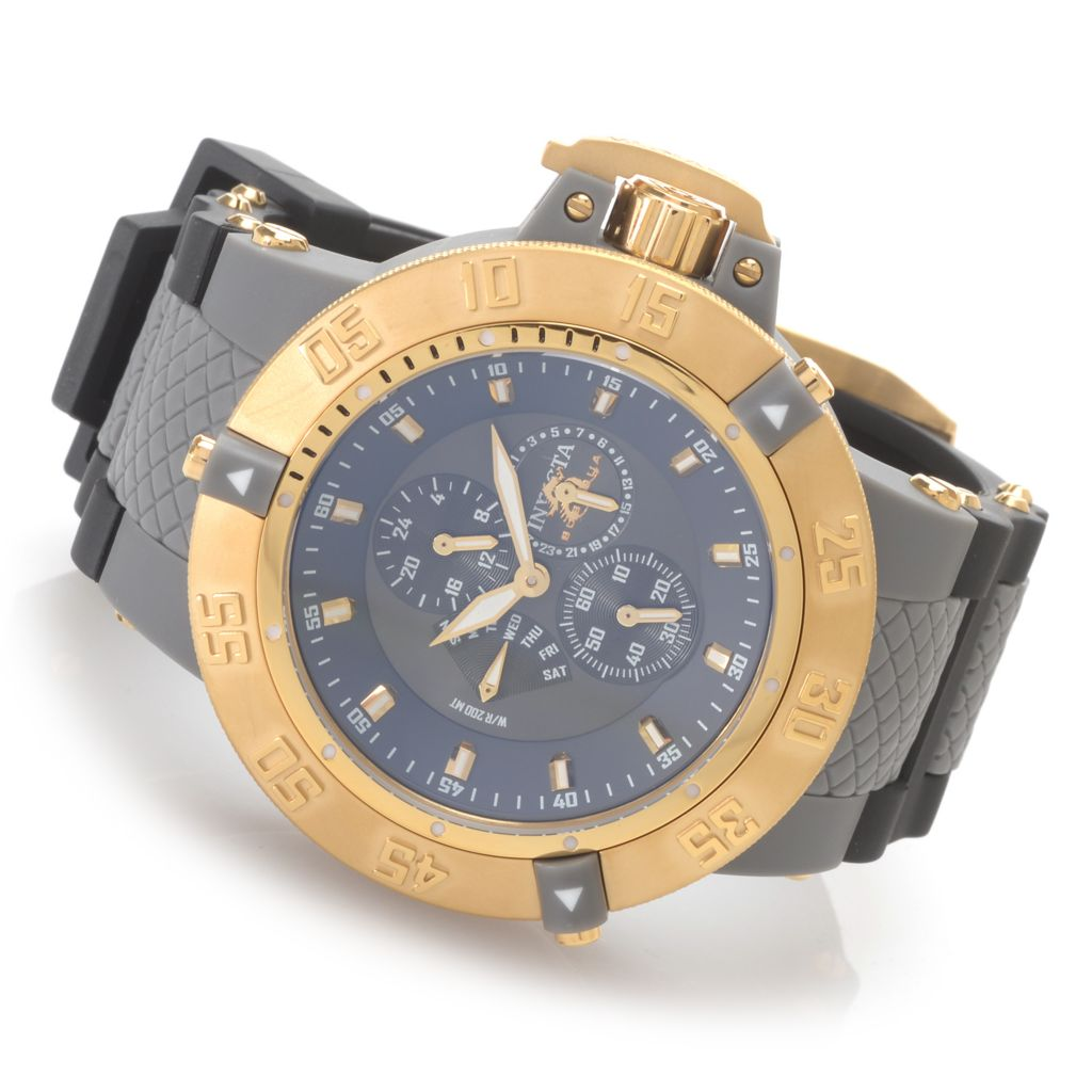 628-244 - Invicta 50mm Subaqua Noma III Anatomic Quartz Polyurethane Strap Watch w/ Eight-Slot Dive Case