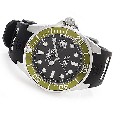 628-245 - Invicta 47mm Grand Diver Quartz Carbon Fiber Dial Polyurethane Strap Watch w/ One-Slot Dive Case