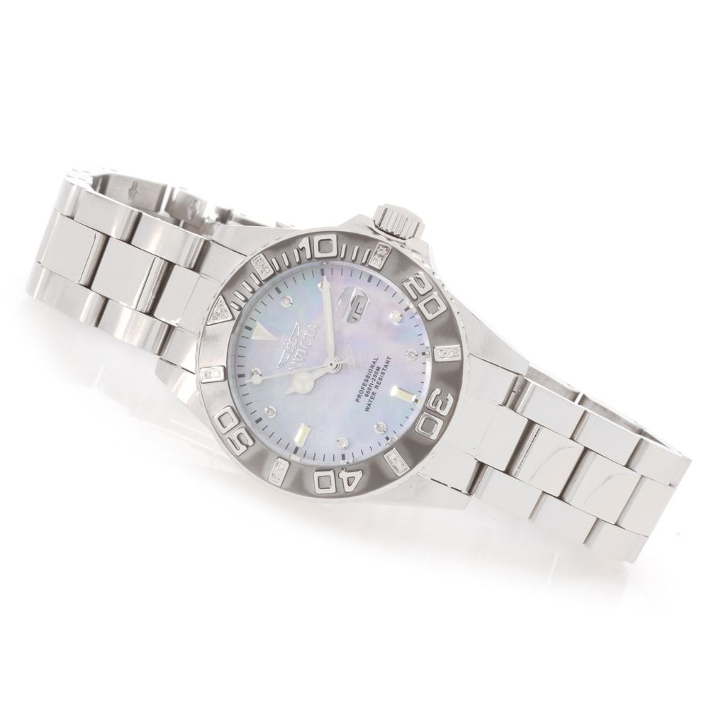 628-250 - Invicta Women's Pro Diver Quartz Diamond Accented Stainless Steel Bracelet Watch