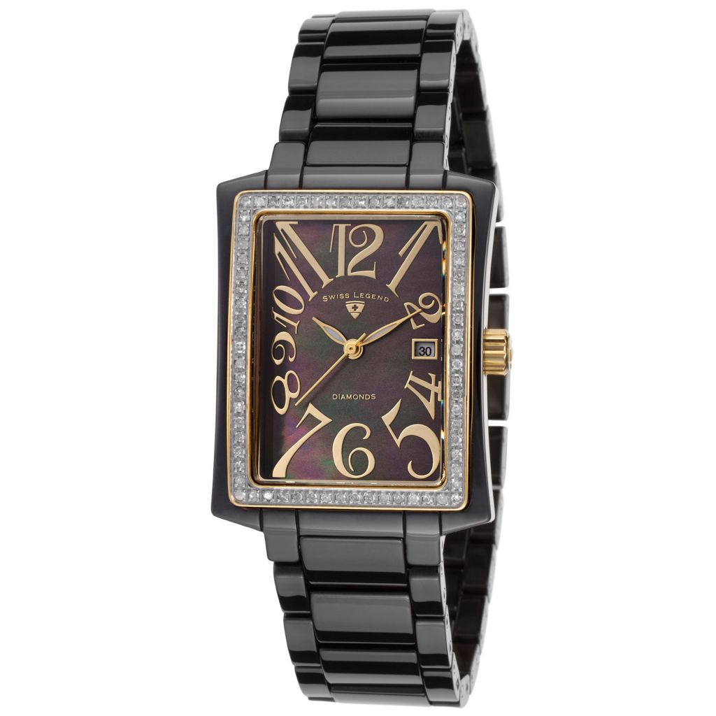 628-254 - Swiss Legend Women's Bella Swiss Quartz Diamond Accented Ceramic Bracelet Watch