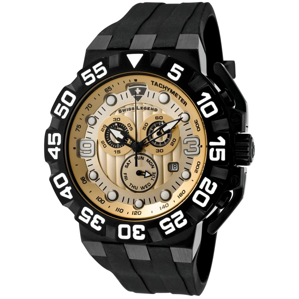 628-256 - Swiss Legend 50mm Challenger Swiss Quartz Chronograph Silicone Strap Watch
