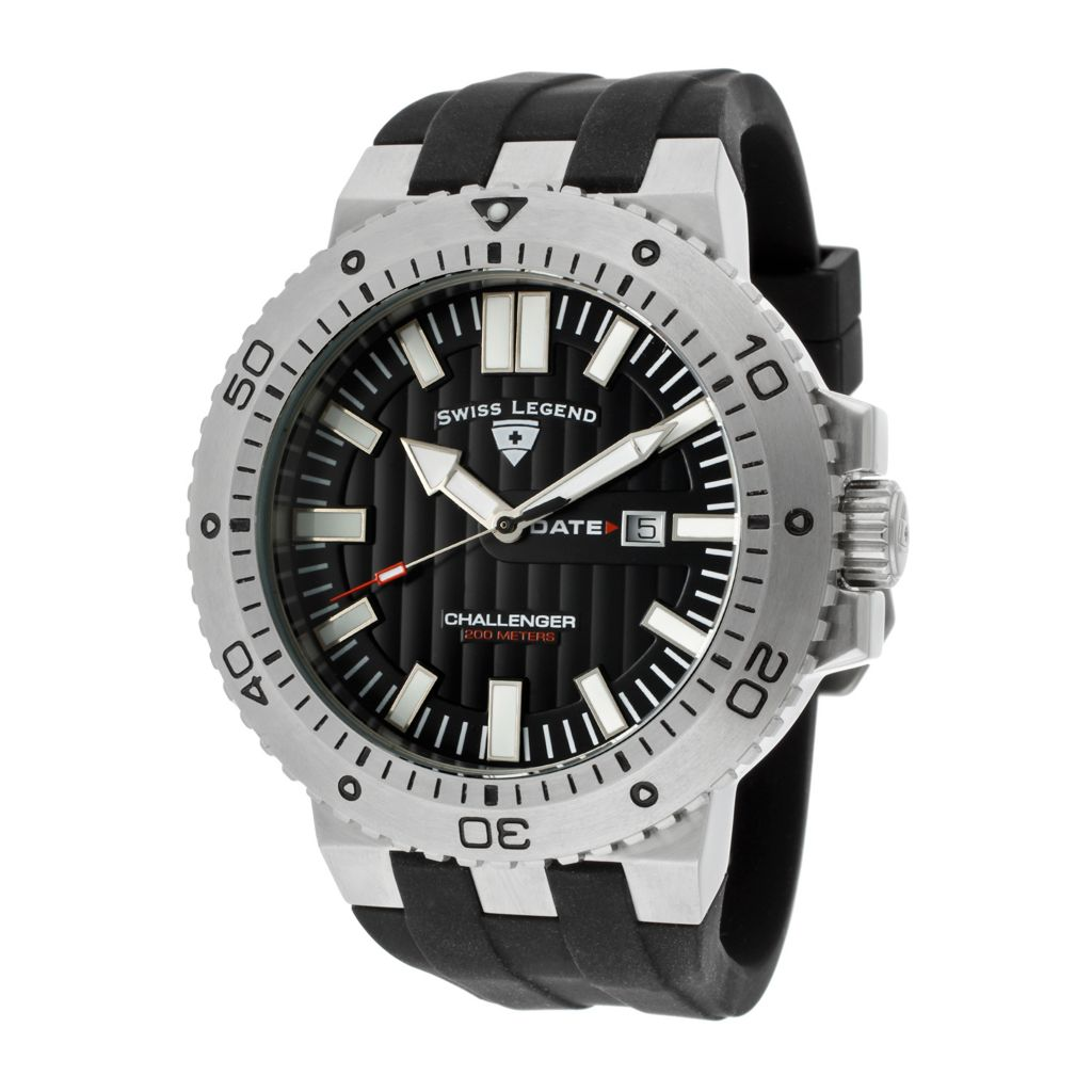 628-257 - Swiss Legend 50mm Challenger Swiss Quartz Silicone Strap Watch