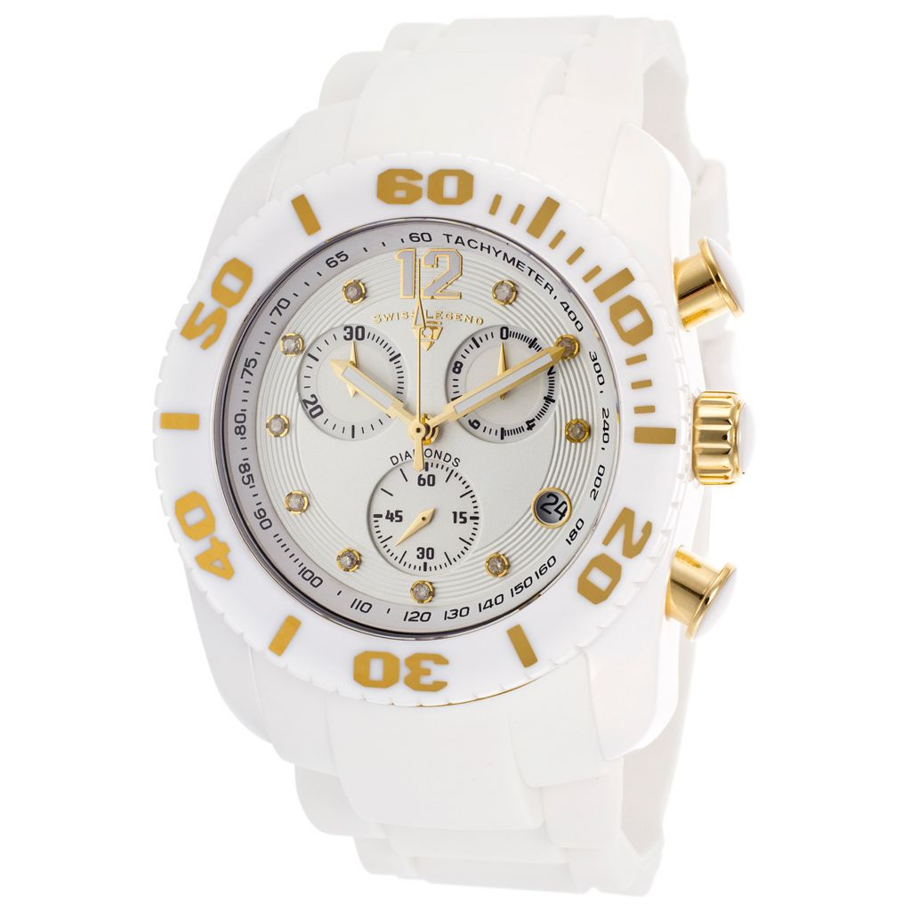 628-259 - Swiss Legend 46mm Commander Swiss Quartz Chronograph Diamond Accented SIlicone Strap Watch