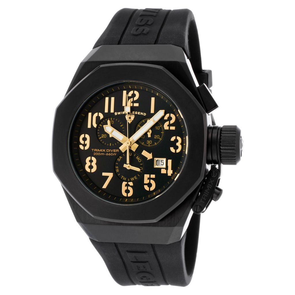 628-261 - Swiss Legend 44mm Trimix Diver Swiss Quartz Chronograph Black Silicone Strap Watch
