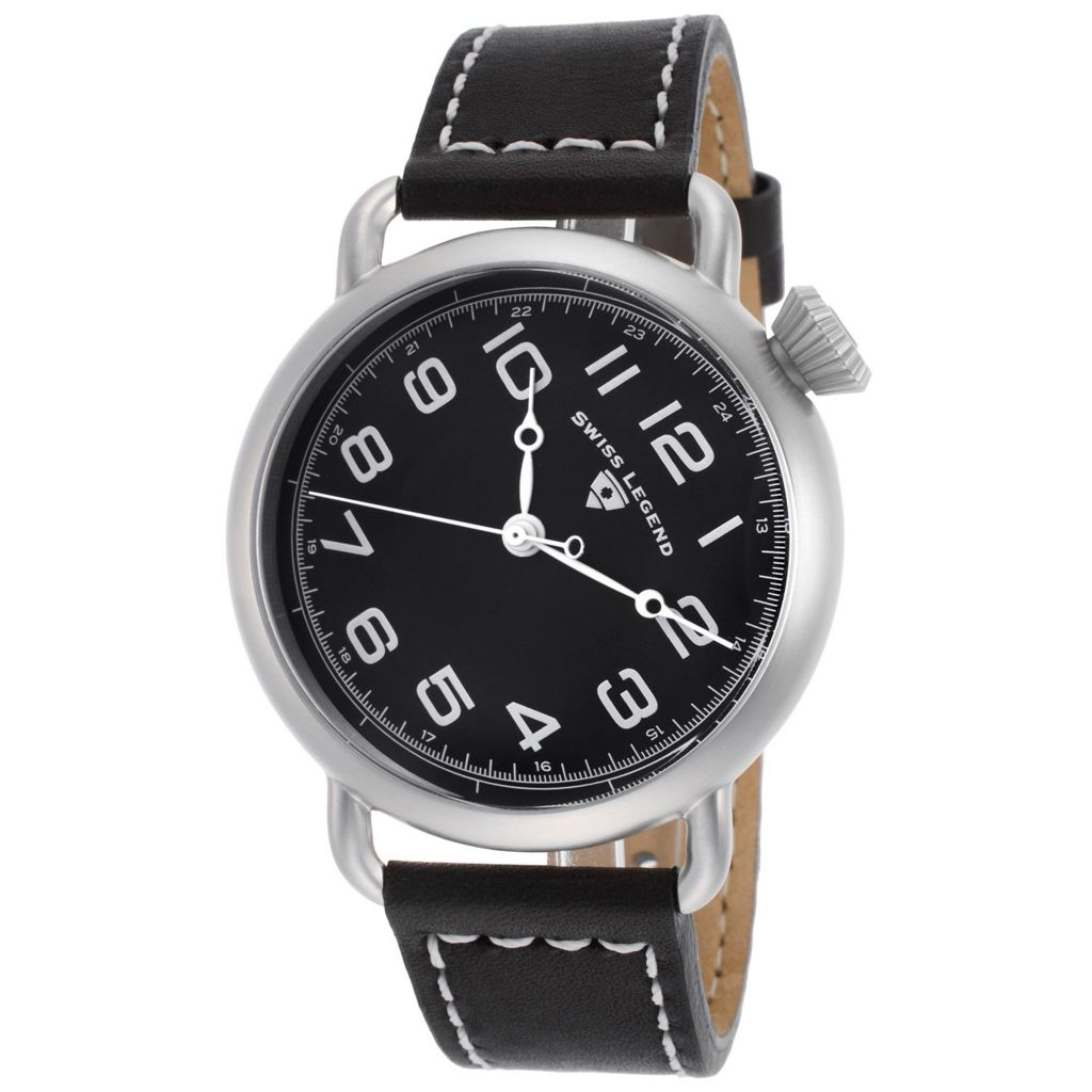 628-262 - Swiss Legend 42mm Frontier Swiss Quartz Leather Strap Watch