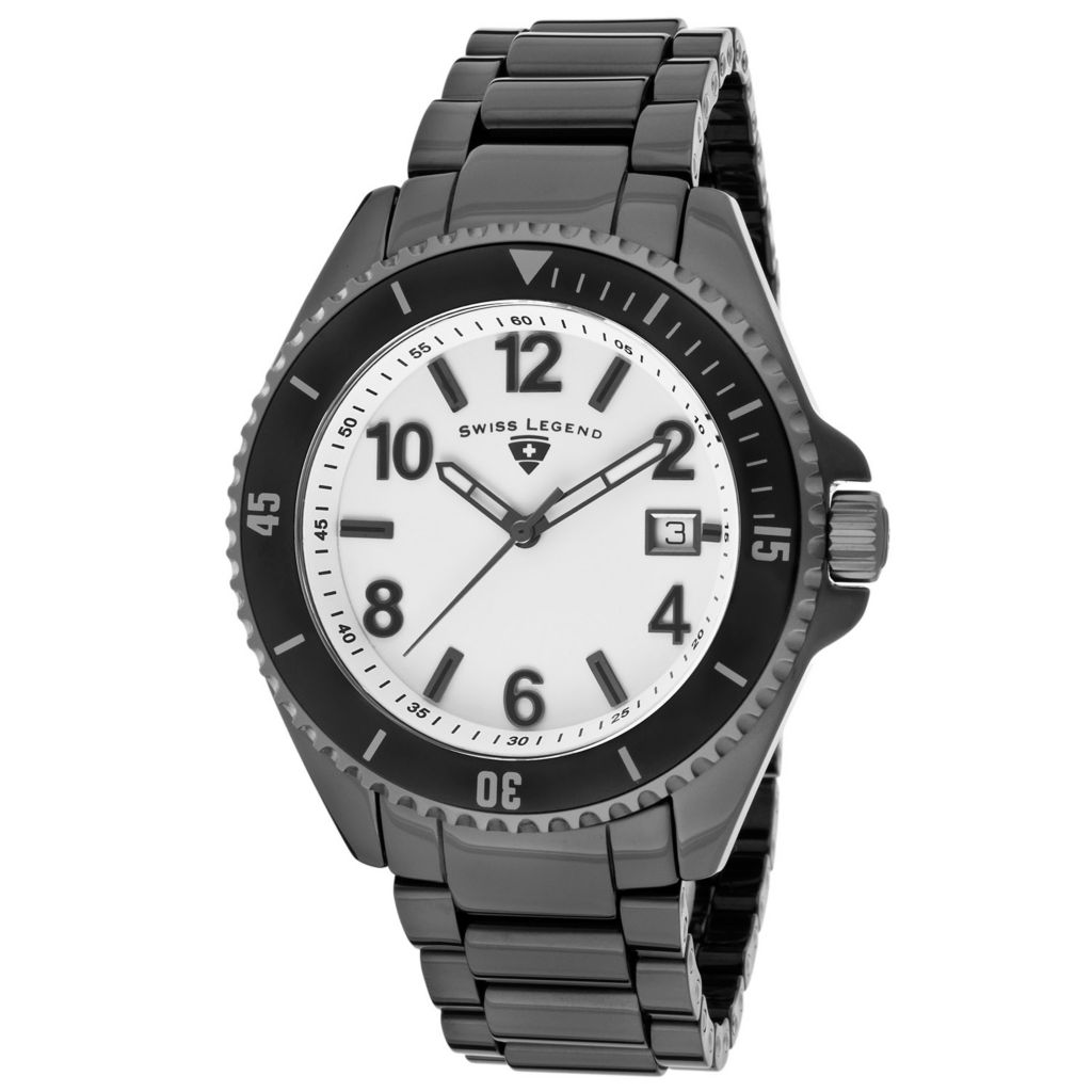 628-264 - Swiss Legend 44mm Luminar Swiss Quartz Date Ceramic Bracelet Watch