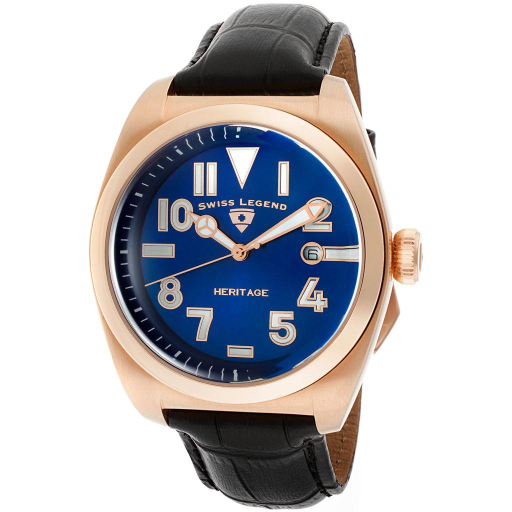 628-267 - Swiss Legend 44mm Heritage Swiss Quartz Date Leather Strap Watch