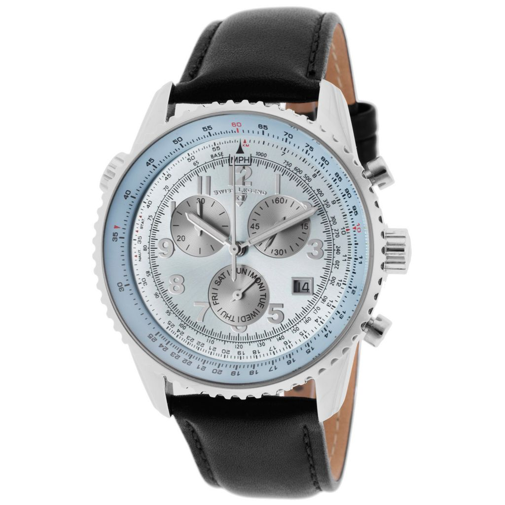 628-275 - Swiss Legend 42mm Skyline Swiss Quartz Chronograph Leather Strap Watch