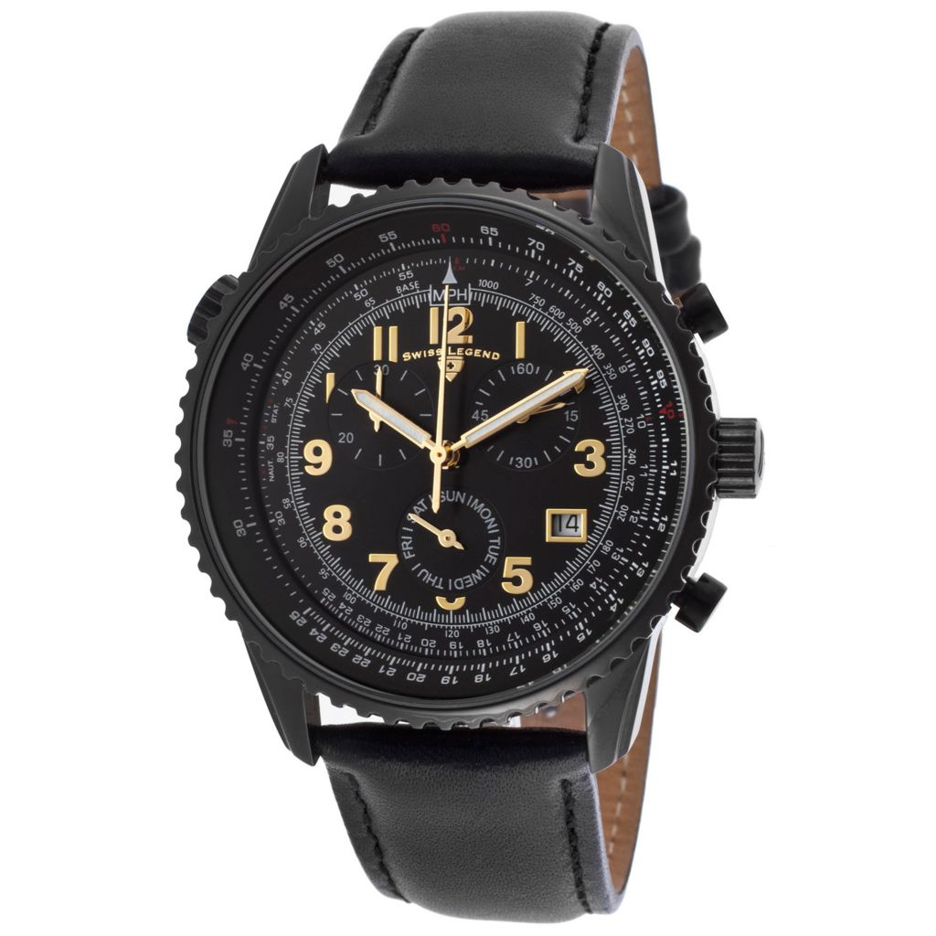 628-276 - Swiss Legend 42mm Skyline Swiss Quartz Chronograph Black Stainless Steel Leather Strap Watch