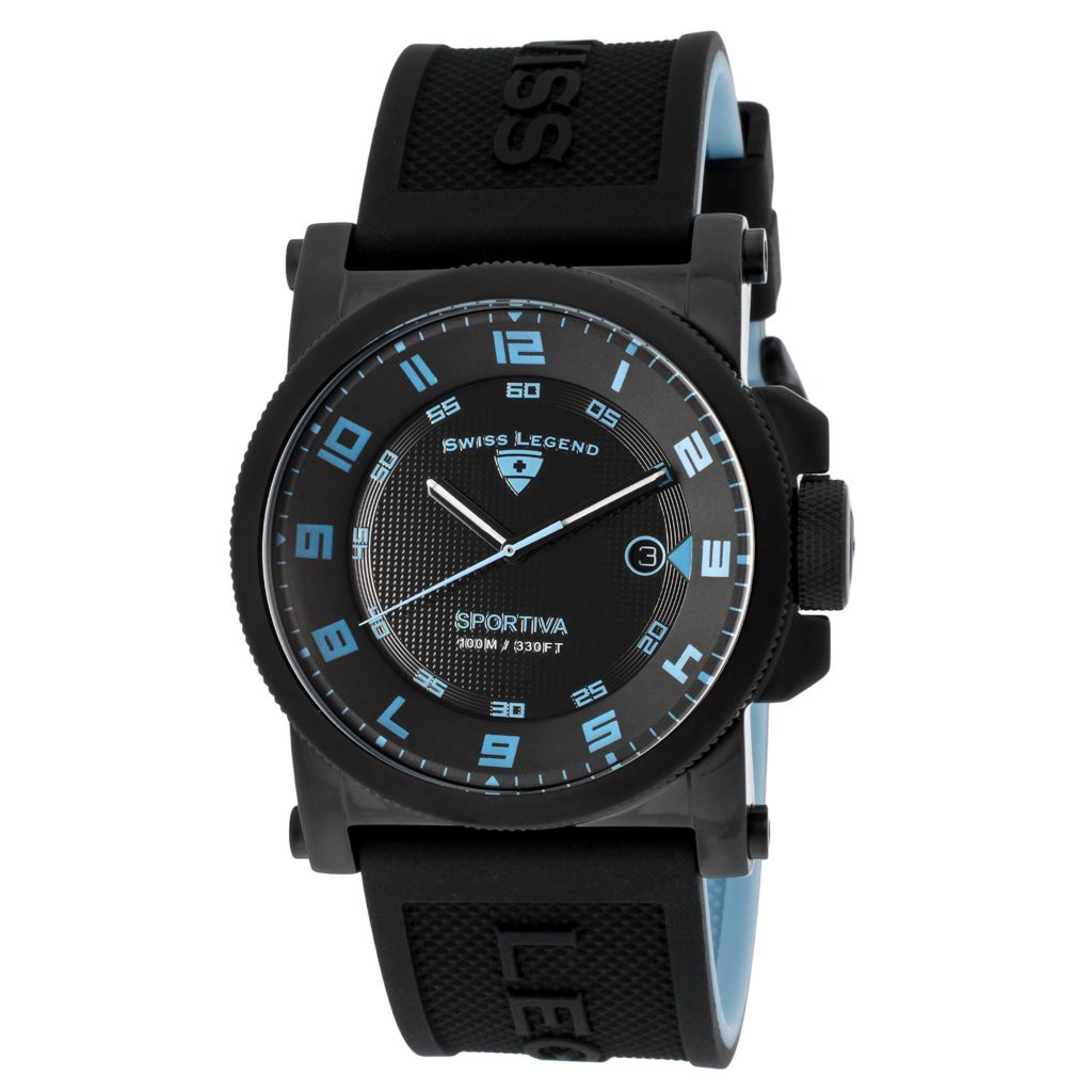 628-277 - Swiss Legend 45mm Sportiva Swiss Quartz Date Silicone Strap Watch