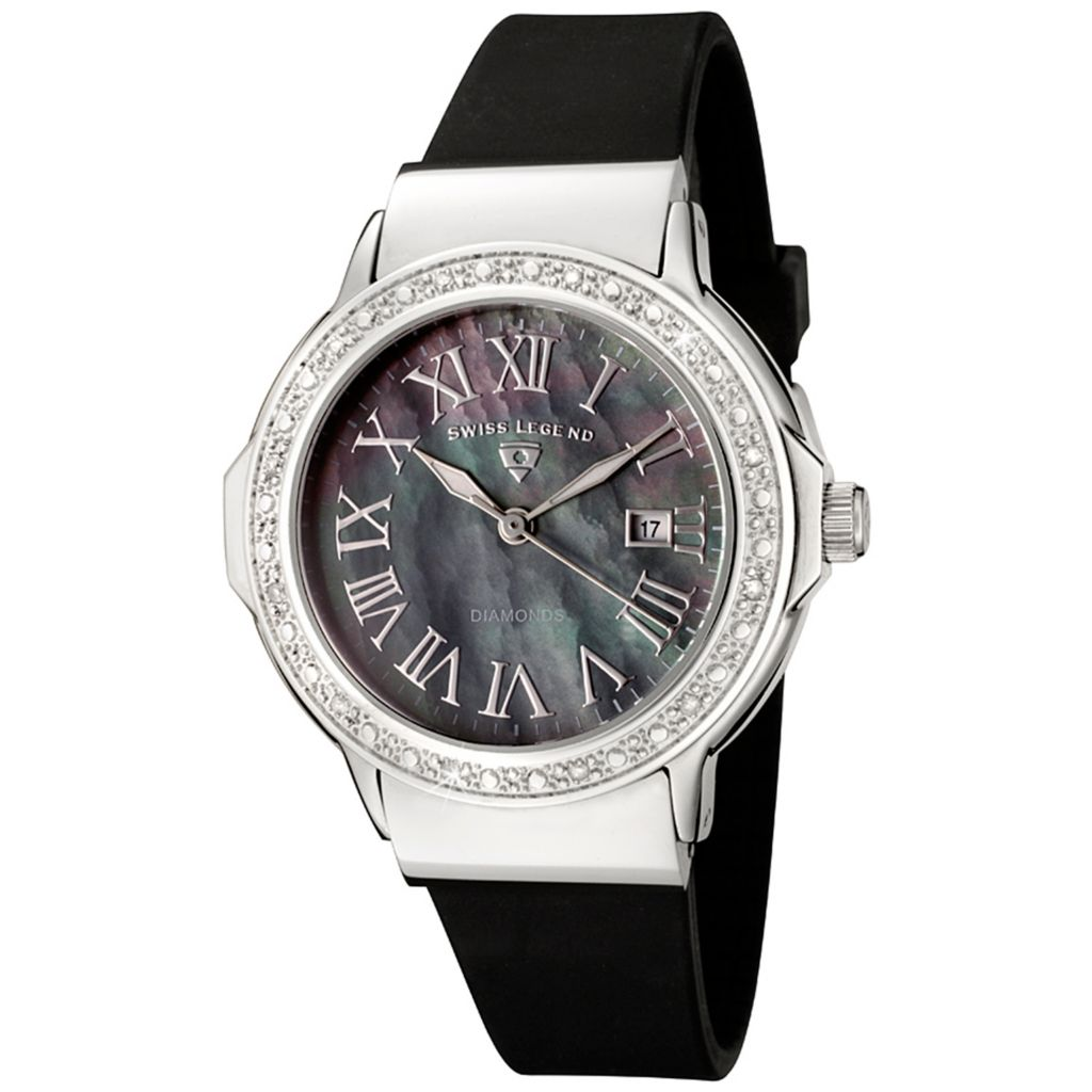 628-282 - Swiss Legend Women's South Beach Diamond Accented Silicone Strap Watch