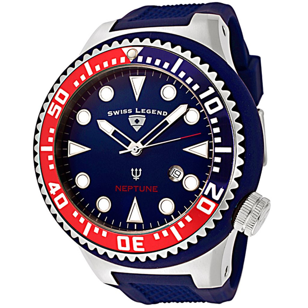 628-286 - Swiss Legend 52mm Neptune Swiss Quartz Stainless Steel Silicone Strap Watch