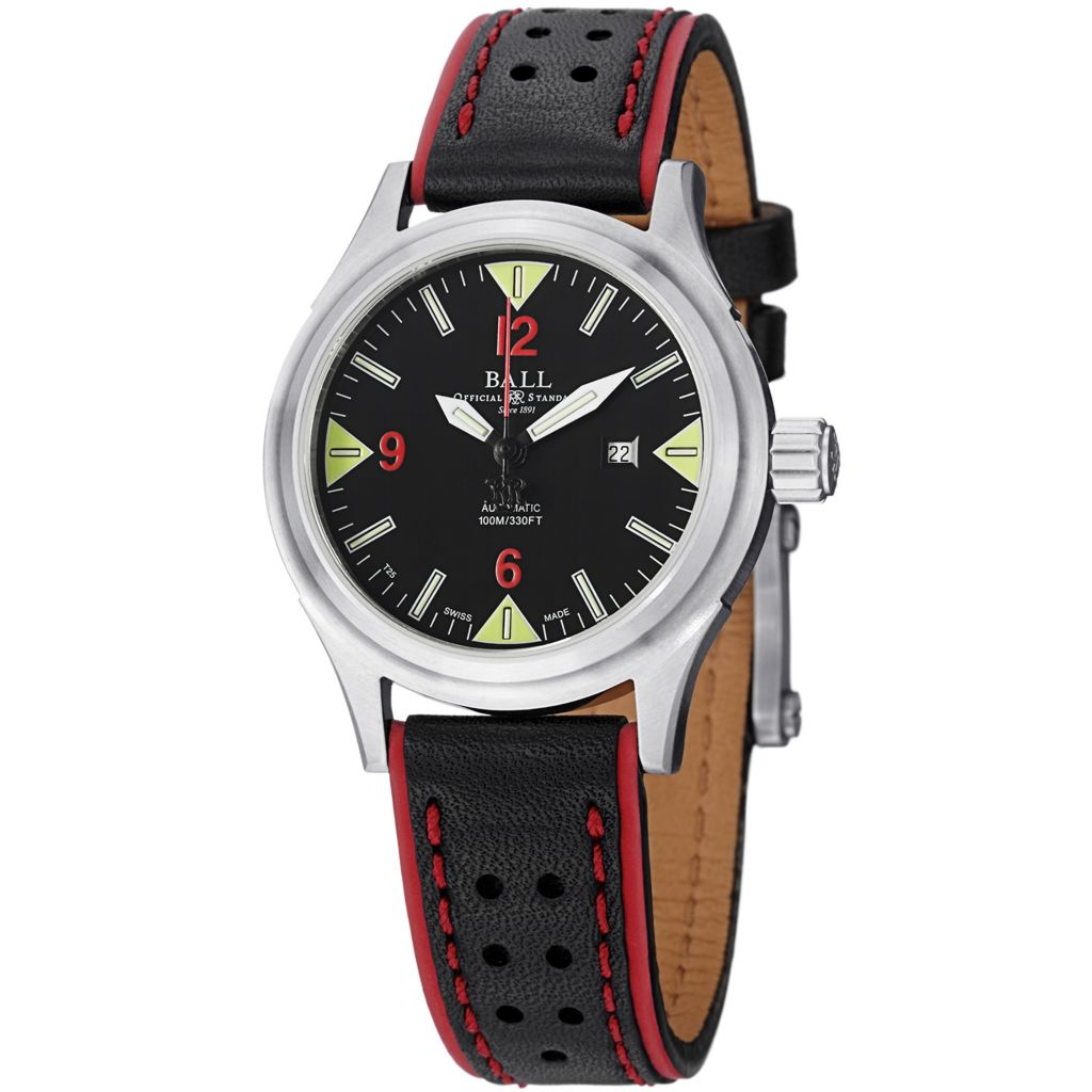 628-293 - Ball Women's Fireman II Swiss Made Automatic Date Leather Strap Watch