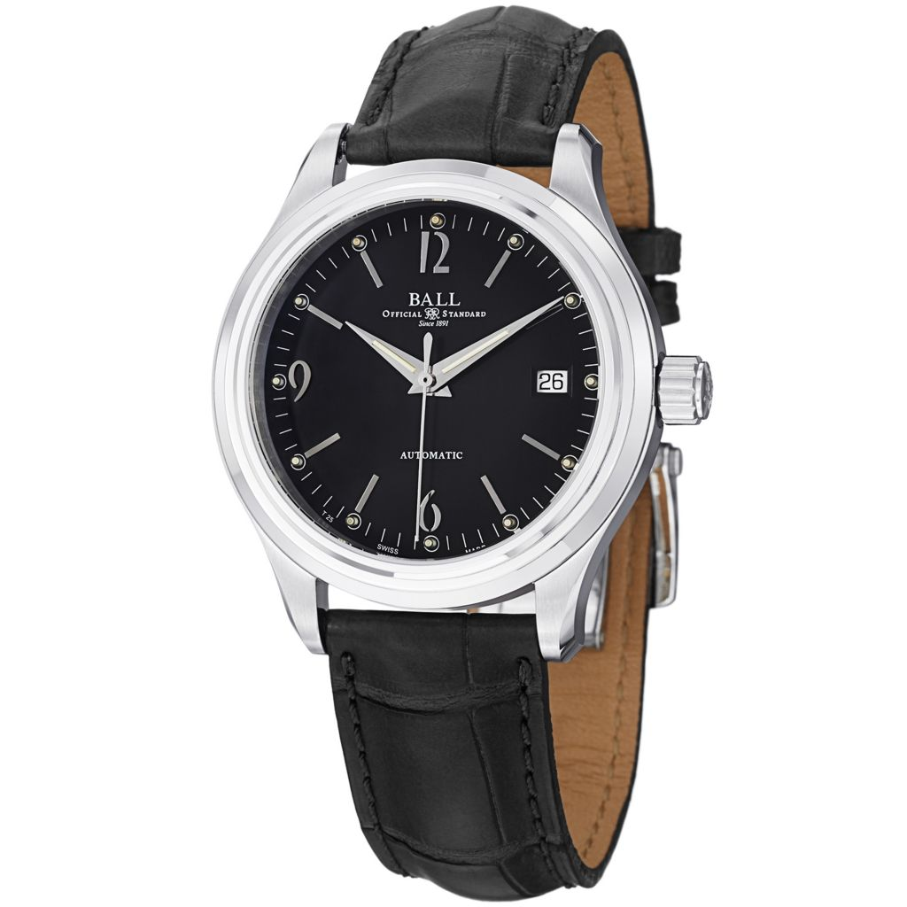 628-295 - Ball 39mm Trainmaster Streamliner Swiss Made Automatic Date Leather Strap Watch