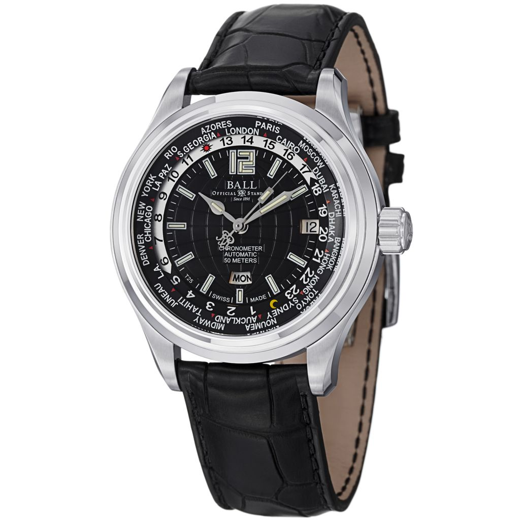 628-302 - Ball 41mm Trainmaster World Time Swiss Made Automatic COSC Leather Strap Watch