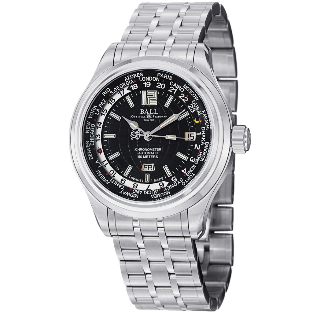 628-303 - Ball 41mm Trainmaster World Time Swiss Made Automatic COSC Stainless Steel Bracelet Watch