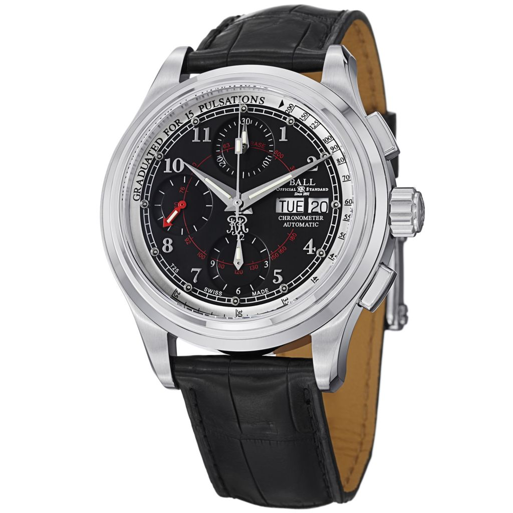 628-304 - Ball 41mm Trainmaster Pulsemeter Swiss Made Automatic COSC Leather Strap Watch