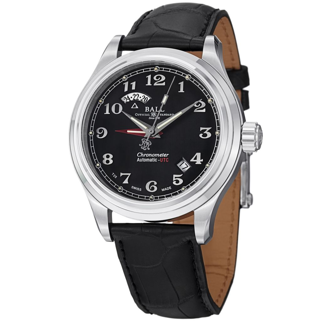 628-310 - Ball 41mm Trainmaster Cleveland Express Swiss Made Automatic Dual Time Leather Strap Watch