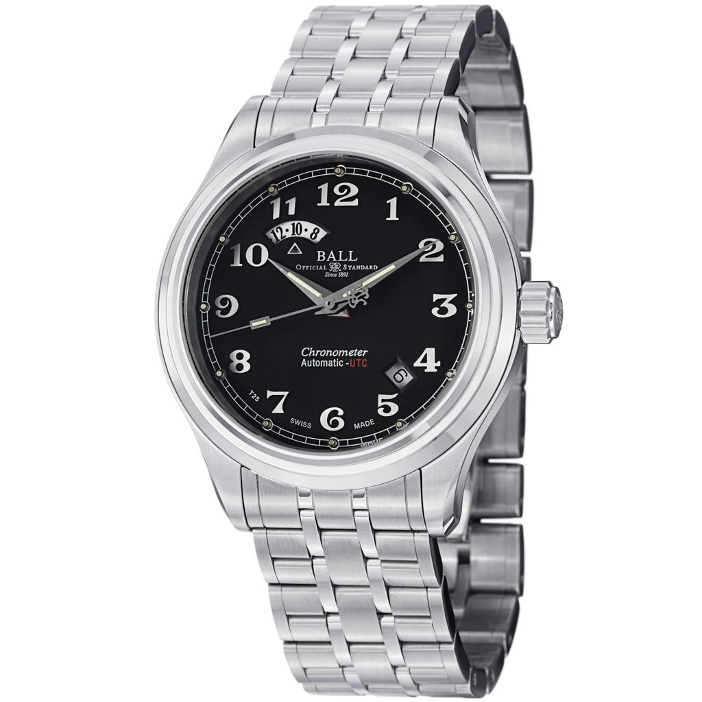 628-311 - Ball 41mm Trainmaster Cleveland Express Swiss Made Automatic Dual Time Bracelet Watch