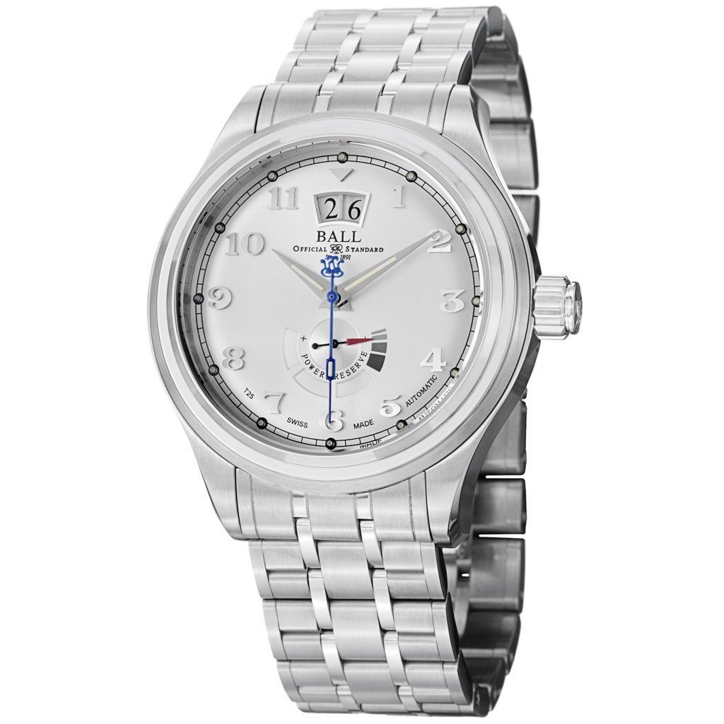 628-313 - Ball 43mm Trainmaster Cleveland Swiss Made Automatic Big Date Stainless Steel Bracelet Watch