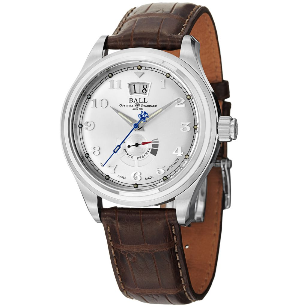 628-320 - Ball 43mm Trainmaster Cleveland Swiss Made Automatic Big Date Leather Strap Watch