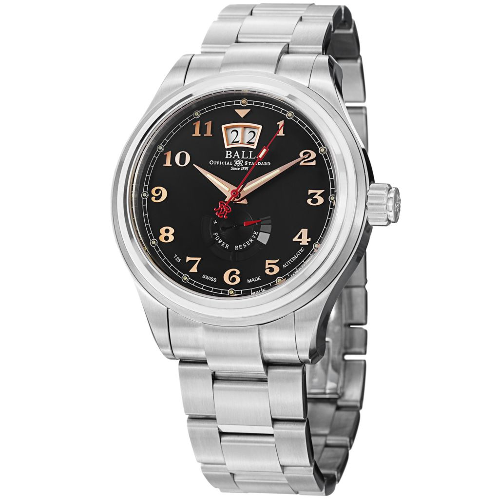 628-321 - Ball 43mm Trainmaster Cleveland Swiss Made Automatic Black Date Stainless Steel Bracelet Watch