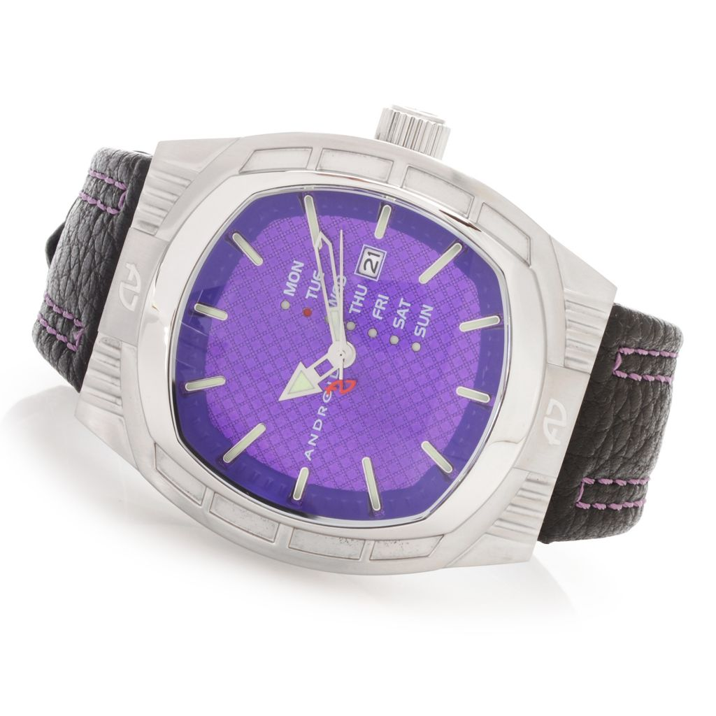 628-327 - Android Tonneau Cocoon Quartz Stainless Steel Leather Strap Watch w/ 3-Slot Travel Case