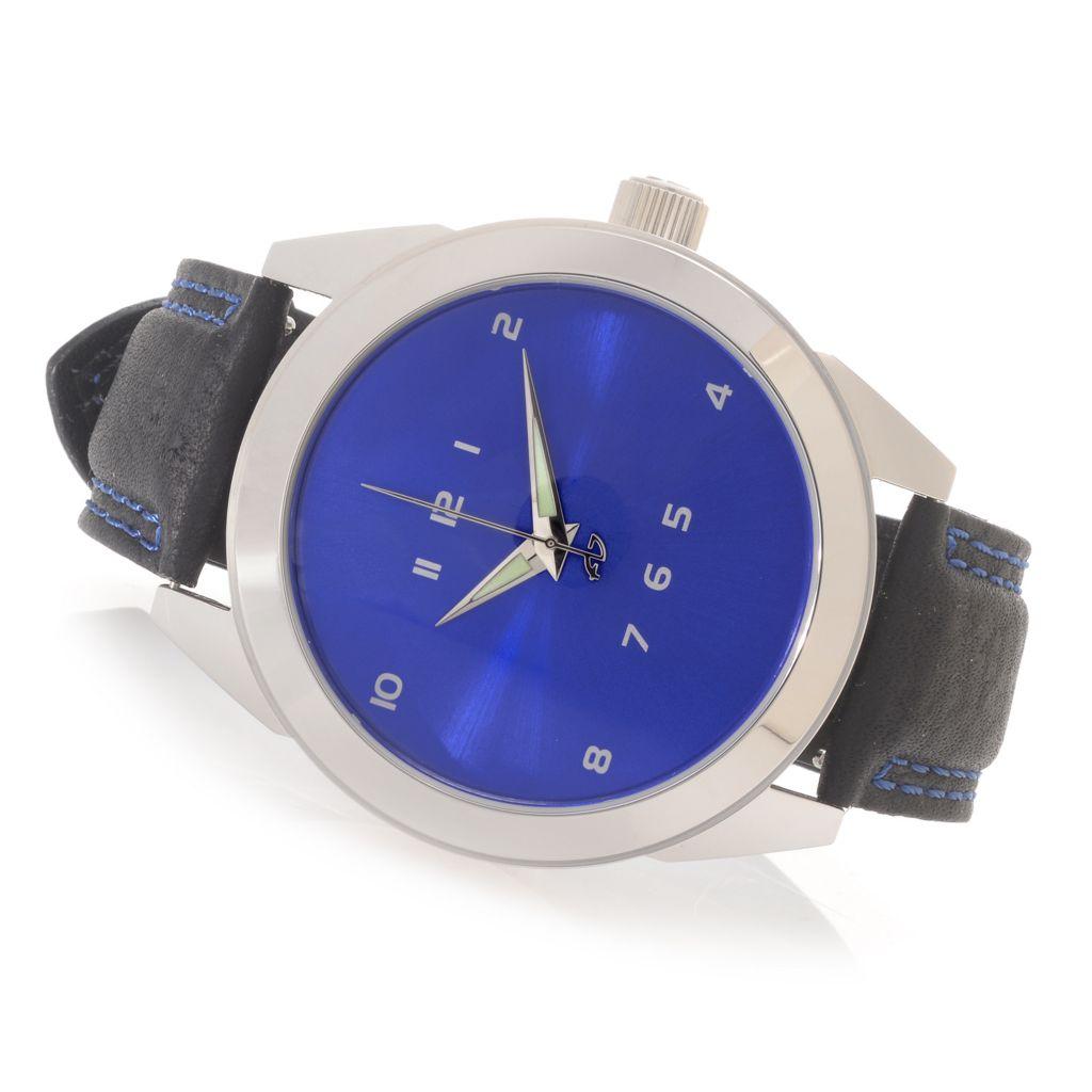 628-329 - Android 48mm Horizon Quartz Leather Strap Watch w/ 3-Slot Travel Case