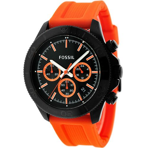 628-331 - Fossil 45mm Retro Traveler Quartz Chronograph Silicone Strap Watch