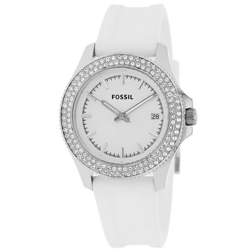 628-332 - Fossil Women's Retro Traveler Quartz Crystal Accented Silicone Strap Watch