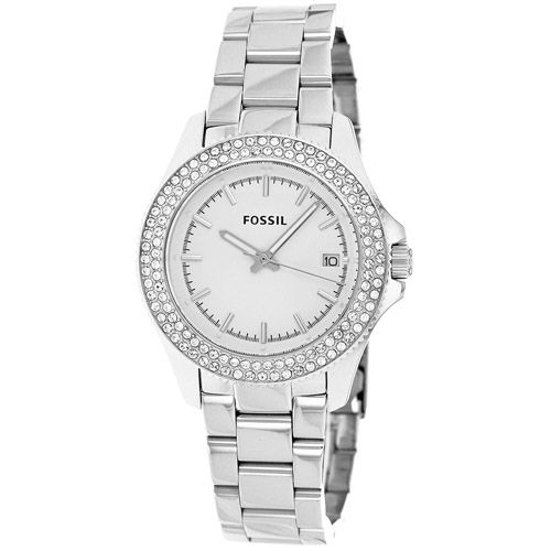 628-335 - Fossil Women's Retro Traveler Quartz Crystal Accented Stainless Steel Bracelet Watch