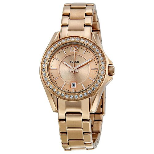 628-339 - Fossil Women's Riley Mini Crystal Accented Stainless Steel Bracelet Watch