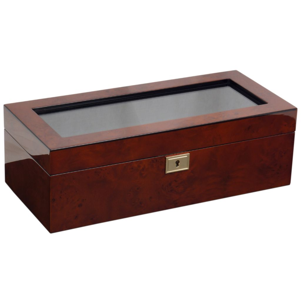 628-348 - WOLF Savoy Five-Slot Watch Box w/ Glass Window